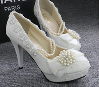 beaded sandles - Stock White Beaded Pearls wedding shoes Round Toe High heel Applique Summer Sandles bridal shoes accessories cheap
