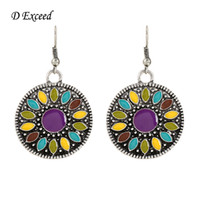 antique silver earings - Big Round Earring for Women Multi Color Antique Silver Plated Enamel Geometric Eearrings Fashion Jewelry Boho Brincos Earings ER151765