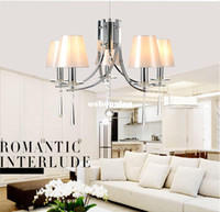 Wholesale Modern Crystal Chandelier Light fixtures New Crystal chandelier Lustre for Living Room Bedroom Fabric lampshade