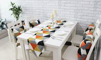 Wholesale Prague Modern Minimalist Geometric Patterns Printed Cotton Table Runner European Style Coffee Table Manteles Para Mesa Placemats Orange