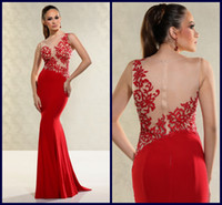 Wholesale 2015 Hot Sale Evening Prom Dresses Stylish Sheer Neck Embroidery See Through Mermaid Sweep Train Satin