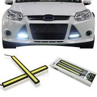 Wholesale 14CM V LED COB Car Auto DRL Driving Daytime Running Light Fog Headlight Lamp White