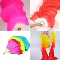 Wholesale 1 x Hot Sell Belly Dance Dancing Costume Silk Bamboo Fan Long Colorful Veil Colors