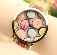 ice watches - Women ladies fashion weave watch rope handmade flower watches ice cream design bracelet watch quartz summer dress watches