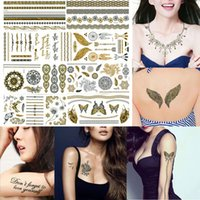 beautiful stencils - Beautiful Temporary Tattoo Stickers Inspired Stencils For Painting Body Art Waterproof Glitter Gold Silver Black Flash Tattoos