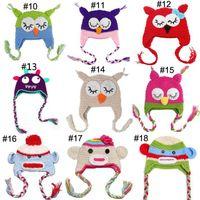 winter ear cap - Handmade Owl Hat Crochet Hat knit Baby Hat Cap with ear flap Animal Style For Girl Boy Gift