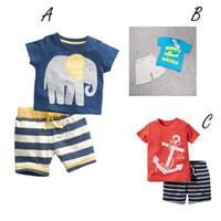 anchor outfit - 2016 Baby Boys Anchor Sets Top t shirt Stripe Pants Children Short Sleeve Boutique Outfits Kids Summer Pajamas Suits Kids Clothes DG16 B13