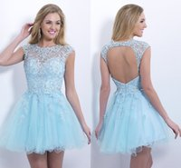 short sparkly prom dresses - Sexy Applique Sparkly Bling Backless Beaded A Line Cheap Blush Short Prom Cocktail Party Dresses for Women