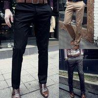 Wholesale NEW Autumn Winter Men Stylish Slim Fit Straight Cotton Business Suit Pants Male Casual Long Trousers High Quality M XXL
