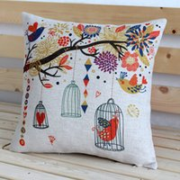 Wholesale 2015 hot car cushion COVER pillow CASE nature picuturs with vsmall fresh garden tree bird cages best quality free ship