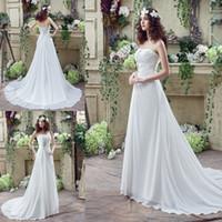 Cheap Real picture Beach Chiffon Wedding Dresses With Draped A Line Ruffles Applique Beaded Vestidos de Novia Grace white  ivory Bridal Gowns