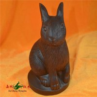 african ebony - Kerry Redwood City special quality African Ebony Small rabbit zodiac animal carvings Gift Decoration