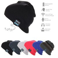 Wholesale Warm Bluetooth Music Hat Soft Warm Beanie Cap with Stereo Headphone Headset Speaker Wireless Microphone hands free for man and woman