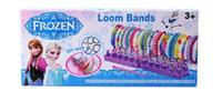 Wholesale Frozen Fun colourful loom bands DIY bracelets rubber rainbow band Anna Elsa bracelet Christmas gift toy for children
