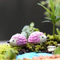 Wholesale Cute Hedgehogs Doll - Wholesale 60pcs mini microlandschaft cute craft Moss micro landscape ornaments fleshy pink flower doll ornaments DIY materials Hedgehog