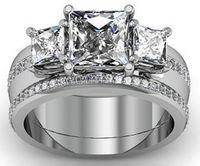 Wholesale 2 CARATS PRINCESS DIAMOND ENGAGEMENT RING ON K WHITE GOLD GENUINE DIAMOND5