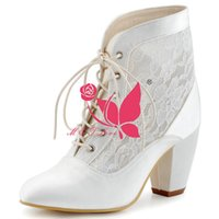 b ornament - Brand New Cheap Boots Ivory Satin Heels Bridal Lace Ornament Boots Pointed Toe Wedding Party Shoes WS0105I Customise Size to
