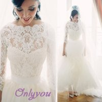 Wholesale sheer high neck sleeves wedding dresses with sash lace top aline modest wedding gowns bridal gowns
