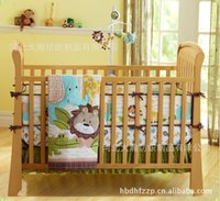 african forest animals - Printing embroidery African forest animals prints cotton baby bedding set includes Quilt Bumper Sheet Skirt Mattress Cover