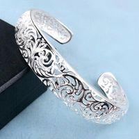 al por mayor plata esterlina de la vendimia-6Pcs / Lot de la nueva vendimia que talla la pulsera de la manera de la apertura de las pulseras 925 regalo agradable del brazalete de las mujeres de la joyería de la plata esterlina 2016