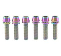 Wholesale 6Pcs Titanium Bicycle M5x20mm Tapered Hex Allen Head Rainbow Bolt with Washers