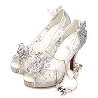 venda por atacado levou industrial-2015 New Hot Cinderella Prom Luxo sapatos de casamento da princesa salto alto Cristais Sparkly Lace sandálias de verão brancas Peep Toe Calçados nupcial MYF106