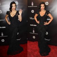 Cheap Black Kim Celebrity Dresses Best Lace Red Carpet Dresses