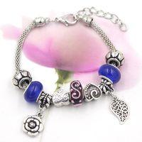 Cheap Free Shipping New Arrival Bracelet European Style Murano Glass Bead Heart Leaf Rose Charm Bracelet for Women Ladies Gift Jewelry