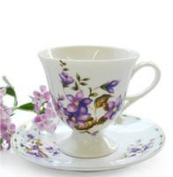 Gros-200ml Belle style européen os haut de gamme en Chine Coffee Cup Set Red Tea Set Tasse Porcelaine Rétros fleurs vitrée livraison gratuite