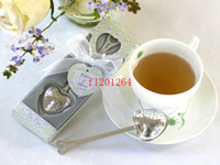 Wholesale Fedex DHL Heart Shape TeaTime Heart Tea Infuser Spoon With retial box For Weeding Party gift