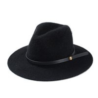 Wholesale Hot Selling Floppy Top Hat With Strap Wide Brim Fedora Hats Top Quality Blending Wool Felt Bowler Cap Cloche Jazz Caps H114