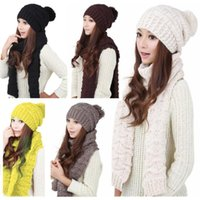 Wholesale Winter Women Knitted Scarf And Hats Set Fashion Girls Thicken Knitting Beanies Collars Best Quality