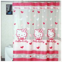 Wholesale Hello Kitty Shower Curtain Transparent Bathroom Curtain Cartoon Shower Curtain Cartoon Fabric Waterproof Cortina ducha cm