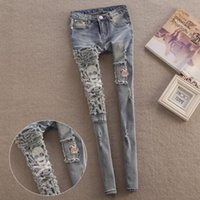 Wholesale New pencil pants jeans women jeans Skull style Hole beggar skinny jeans