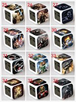 Wholesale 10pcs mixed styles D Cartoon Star Wars Square Digital Alarm Clock Led Color Change Darth Vader Clock Christmas Decoration Gift Clock