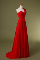 Wholesale The new red and black one shoulder chiffon flower long small trailing bridesmaid dresses Homecoming dresses