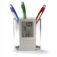 Wholesale New Design Multifunction Pen Holders Perpetual Calendar Clock Temperature Display LCD Digital Office Penholder Gauge Clock A27