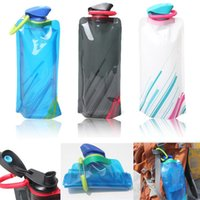 Wholesale Lowest Price mL Foldable Reusable Sport Water Bottle Bag BPA Free Bicycle Camping Outdoor Travel Easy Carry Eco Friendly