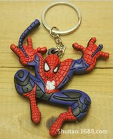 Wholesale 2014 colors SPIDER MAN keychain superman SPIDER ornament double sided single pack key rings kids boys girls christmas gift topB820