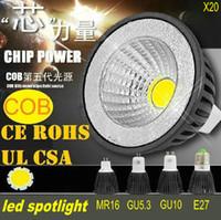Wholesale Dimmable COB LED Bulbs W Black White shell high brightness Lamp GU10 E27 MR16 AC110V V DC12V Spotlight downlights CE ROHS LED X1