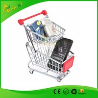 Beverage shopping cart - Novelty double layer Cute Cart Mobile Phone Holder delicate Pen Holder Mini Supermarket office Handcart Shopping Utility Cart smoking pipe