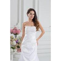 Cheap 2015 Elegant A-Line Court Train Applique Sleeveless Stretch satin Strapless Pleats Floor-Length Lace-up Wedding Dresses