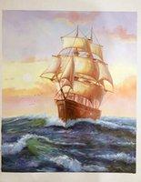 modern painting decorative - Shore Art Modern Hand painted Oil Painting Canvas Big Canvas Painting Decorative Wall Sailing Canvas