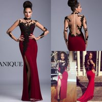 Wholesale 2016 Evening Gowns Janique High Neck See Through Back Prom Dress Sexy Burgundy Cap Long Sleeves Plus Size Long Lace Evening Dresses