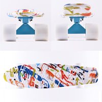 Wholesale inch Fresh Pritned Colorful Letters on the board Skateboard with Blue trucks