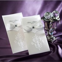 embossed wedding invitations - 2015 Delicate Embossed Flowers White Free Personalized Customized Printing Laser Cut Wedding Invitations Cards With Bow Ribbon Invitaes