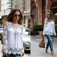 Cheap 2015 Spring Ladies Floral Full Sleeve Chiffon Blouse Lace Top Shirt Blouse Women Clothing Plus size WL-0293