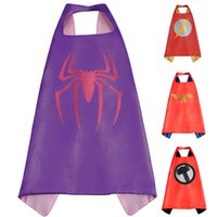 batgirl costume accessories - Gold Hands cm Double Side kids Superhero Cape Superhero Spiderman Supergirl Batgirl Party supply capes in stock