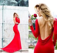Reference Images long dresses - Cheap Sexy Red Jersey Long Sleeve Evening Dresses Tarik Ediz Bateau Backless Crystal Beaded Mermaid Prom Dresses TE