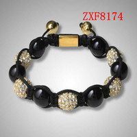 agate suppliers - COOL Gold alloy bracelet for men hand made beads bracelets shamballa bracelet supplier cheap nialaya Natural agate bracelets FactoryZXF8174